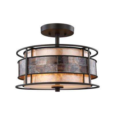 Tremont 2-Light Tiffany Bronze with Tan And Brown Mica Shade Semi-Flushmount