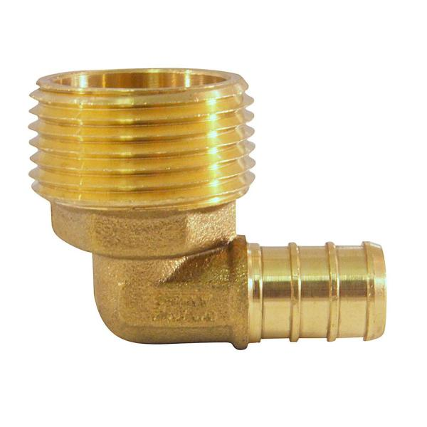 1/2 in. Brass PEX Barb x 3/4 in. Male Pipe Thread Adapter 90-Degree Elbow