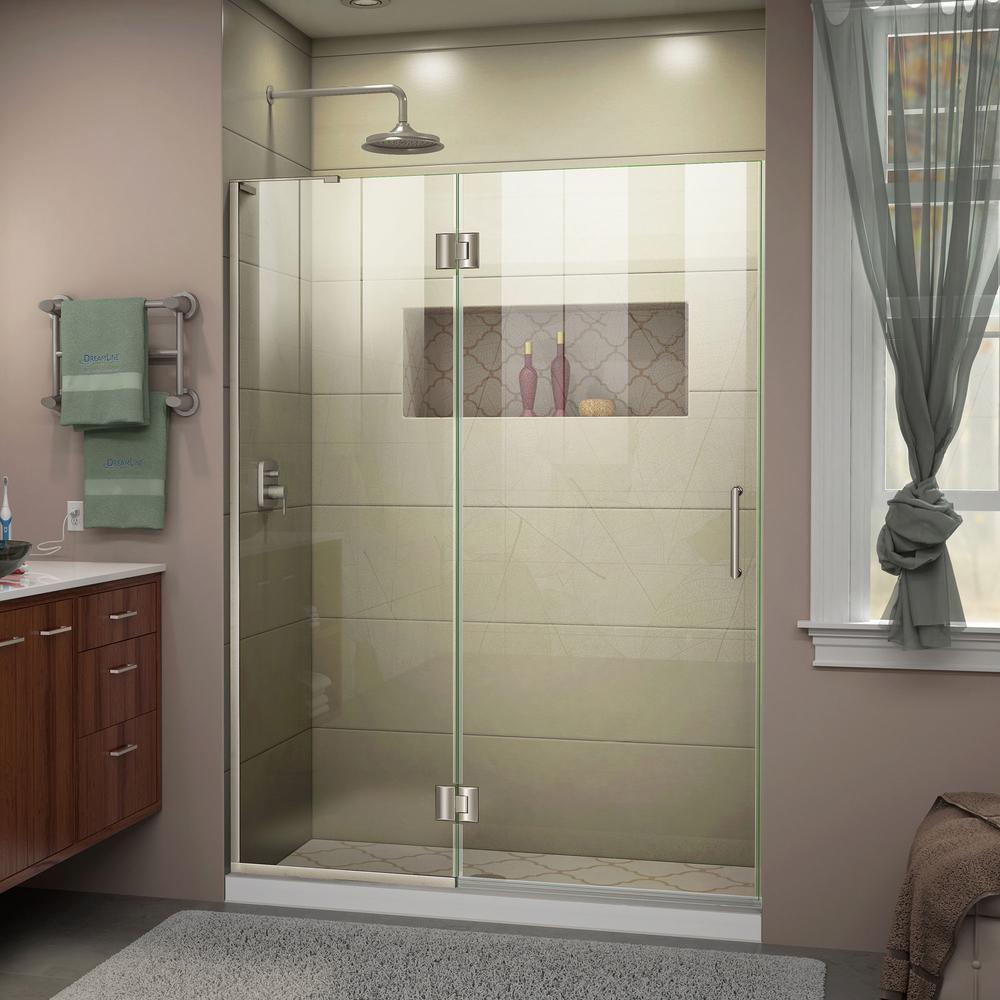 Unidoor-X 54 in. x 72 in. Frameless Hinged Shower Door in Brushed Nickel