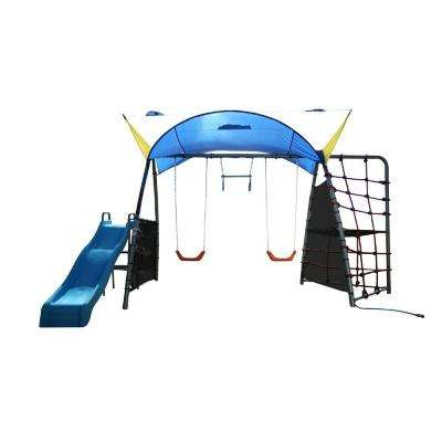 Challenge 300 Refreshing Mist Swing Set with Rope Climb and Expanded UV Protective Sunshade