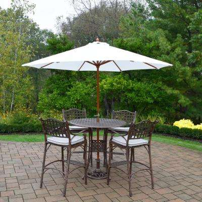 Elite 7-Piece Aluminum Outdoor Bar Height Dining Set with Oatmeal Cushions and White Umbrella