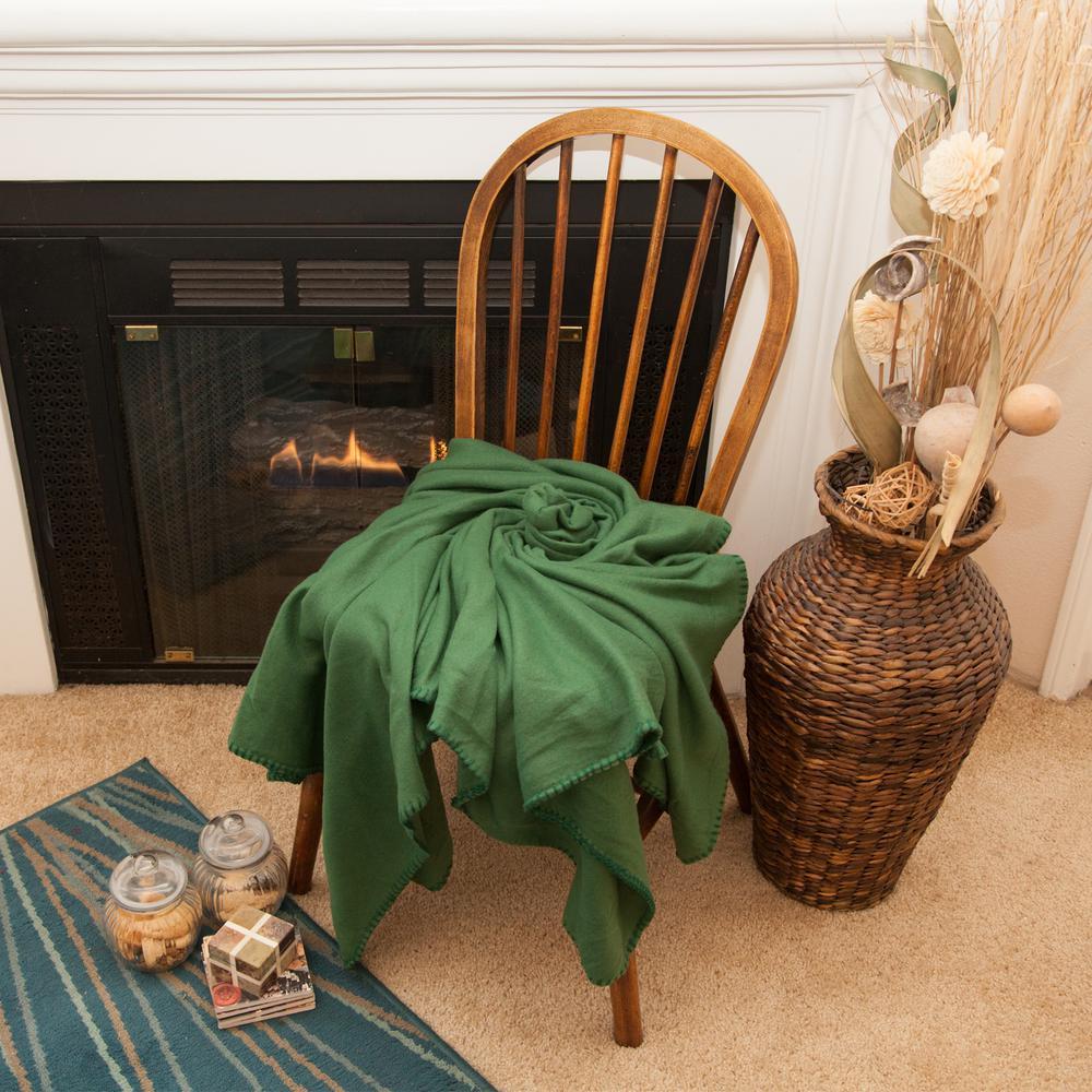 50 in. x 60 in. Dark Green Super Soft Fleece Throw Blanket (24-Pack)