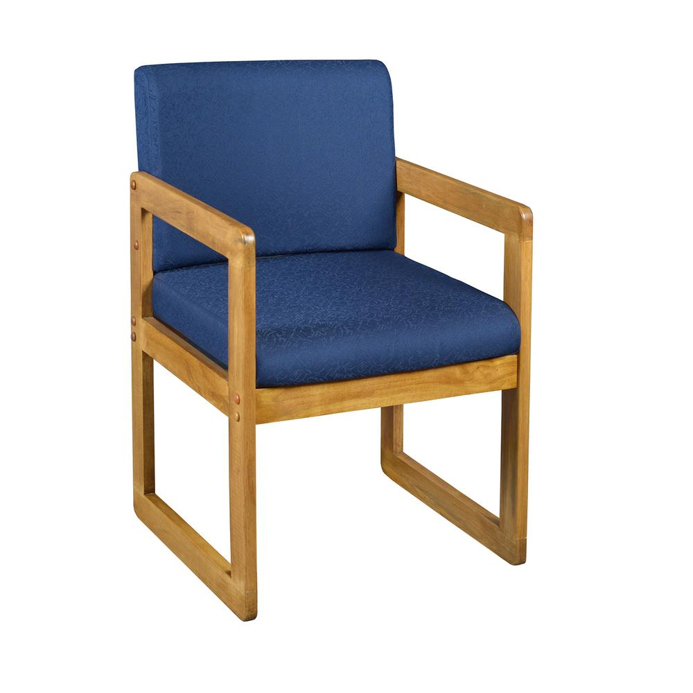 Belcino Medium Oak/Blue Sled Base Side Chair With Arms