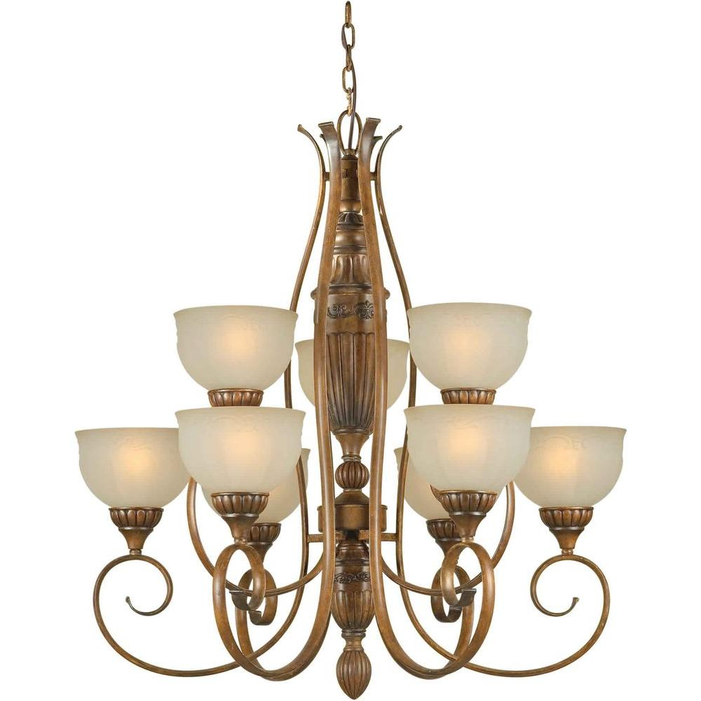 Talista 9-Light Rustic Sienna Bronze Chandelier with Patterned Shaded Umber Glass