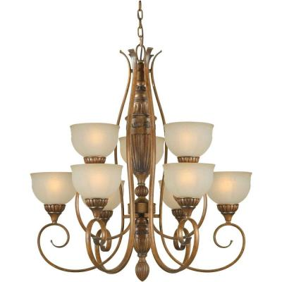 9-Light Rustic Sienna Bronze Chandelier with Patterned Shaded Umber Glass