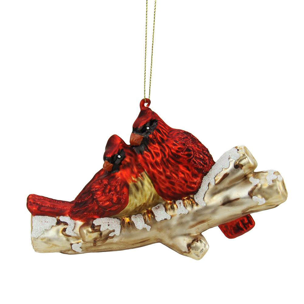 red glitter cardinal birds on snowy branch glass christmas ornament
