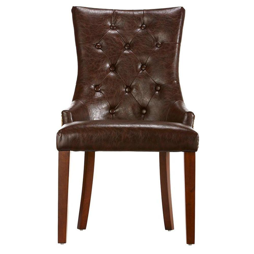 Rebecca Brown Leather Tufted Accent Chair