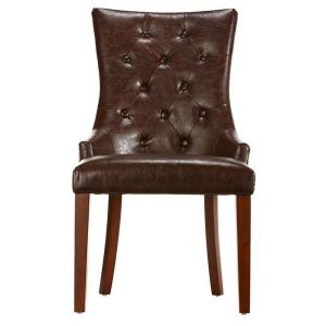 Deals on Home Decorators Rebecca Brown Leather Tufted Accent Chair