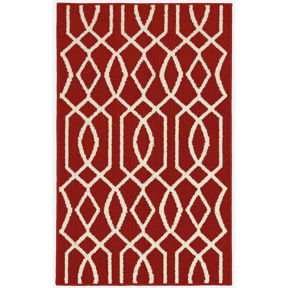 Garland Rug Fretwork Crimson/Ivory 2 ft. 6 inch x 3 ft. 10 inch Accent Rug by Garland Rug
