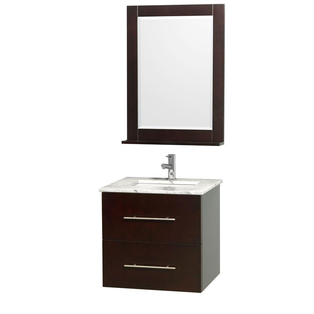 Wyndham Collection Centra 24 In Vanity Espresso With Marble Top Carrara White
