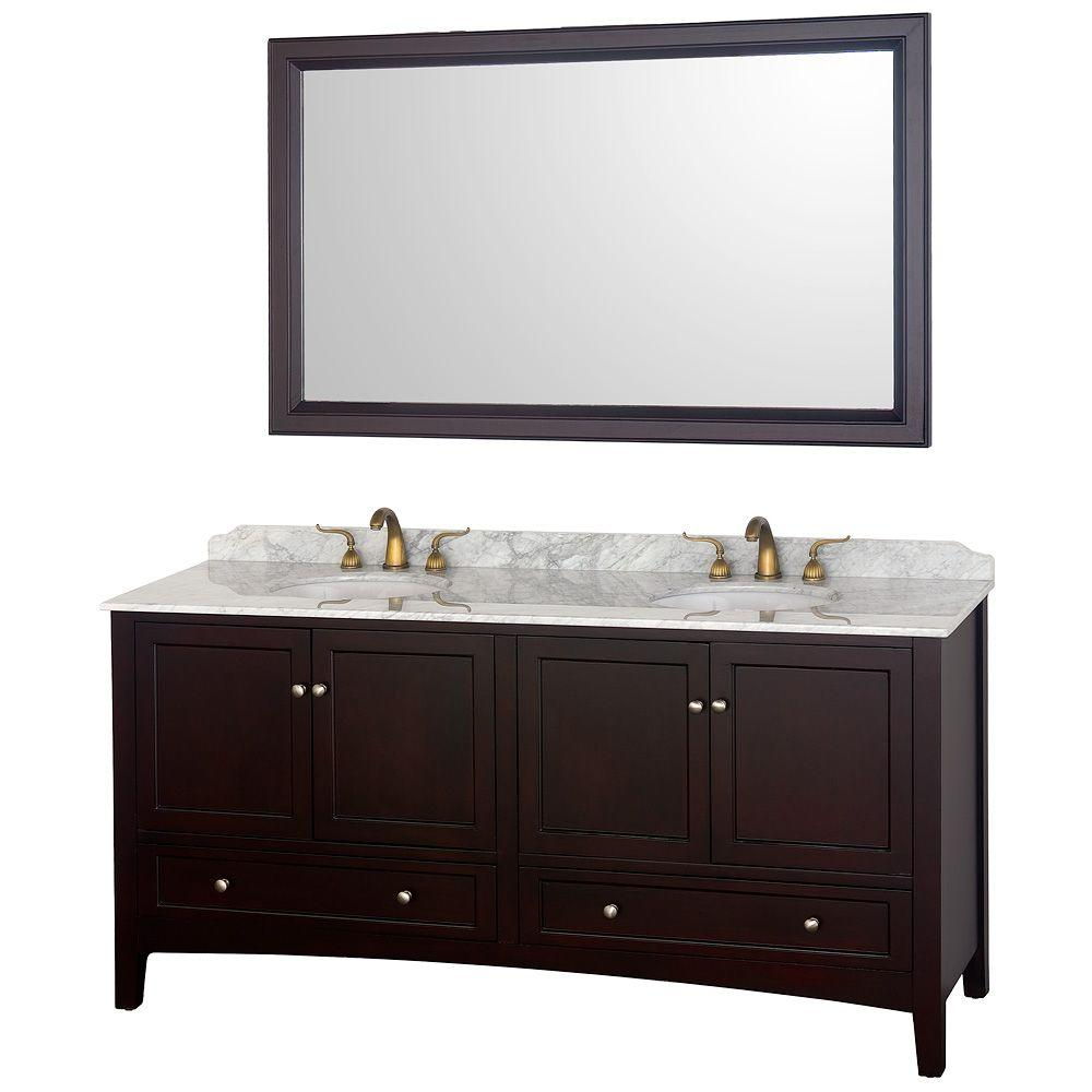 Wyndham Collection Audrey 72 in. Vanity in Espresso with Double Basin Marble Vanity Top in Carrera White and Mirror
