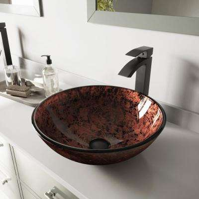Glass Vessel Bathroom Sink in Mahogany Moon and Duris Faucet Set in Matte Black