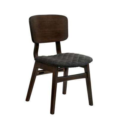 Cirez Walnut Fabric Grid Side Chair (Set of 2)