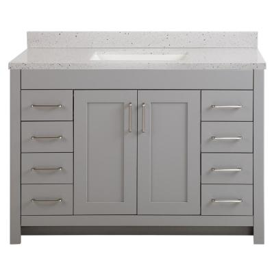 Westcourt 49 in. W x 22 in. D Bath Vanity in Sterling Gray with Solid Surface Vanity Top in Silver Ash with White Sink