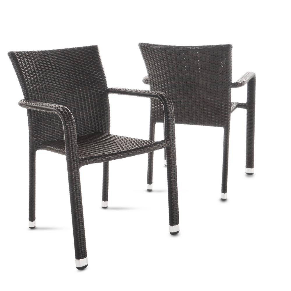 Noble House Dover Multi Brown Stackable Wicker Outdoor Dining Chair 2 Pack 20194 The Home Depot