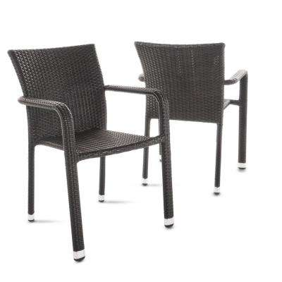 Dover Multi-Brown Stackable Wicker Outdoor Dining Chair (2-Pack)