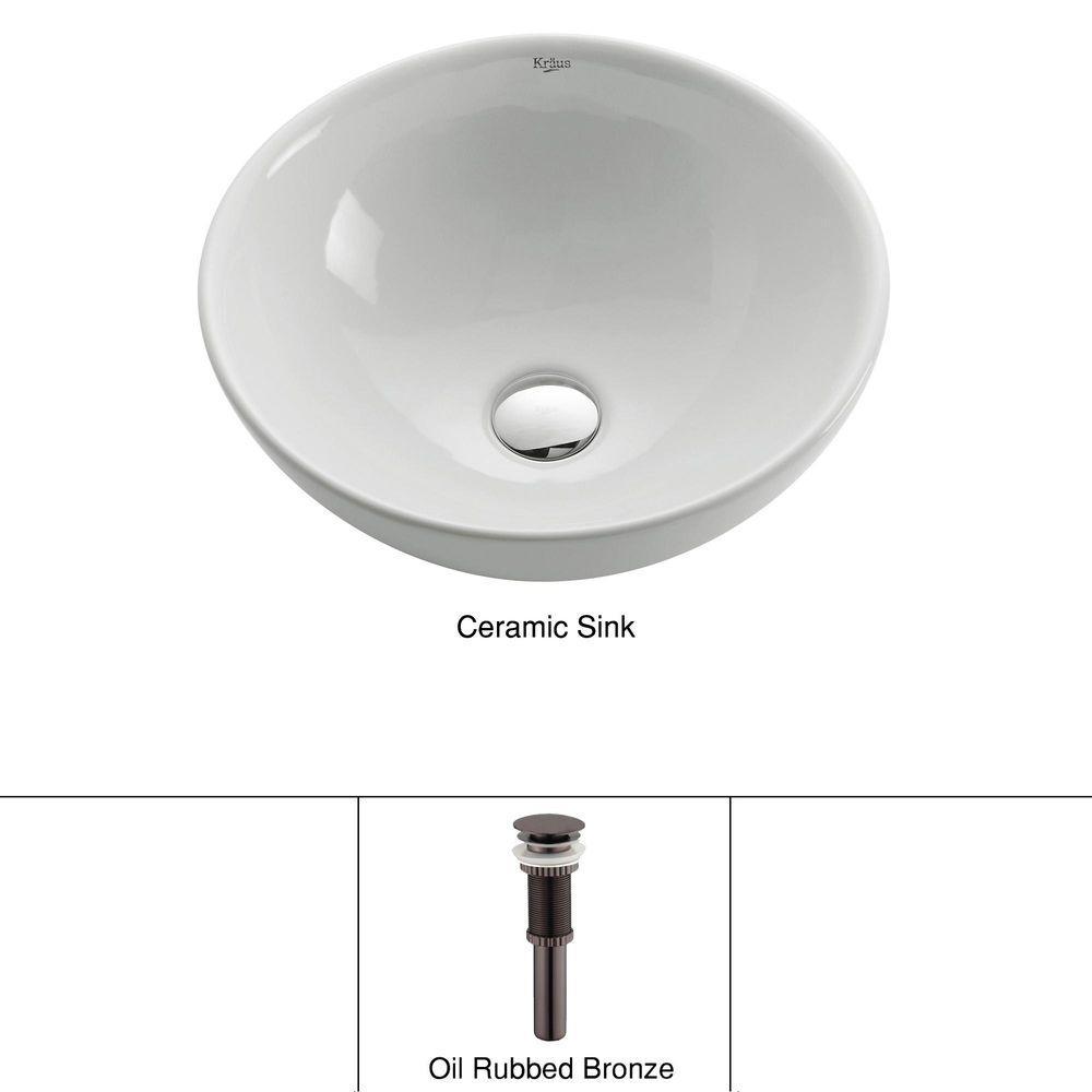 KRAUS Soft Round Ceramic Vessel Bathroom Sink in White with Pop Up Drain in Oil Rubbed Bronze