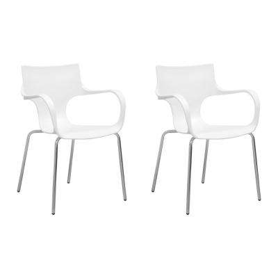 Phin Plastic White Modern Dining Side Chair (Set of 2)
