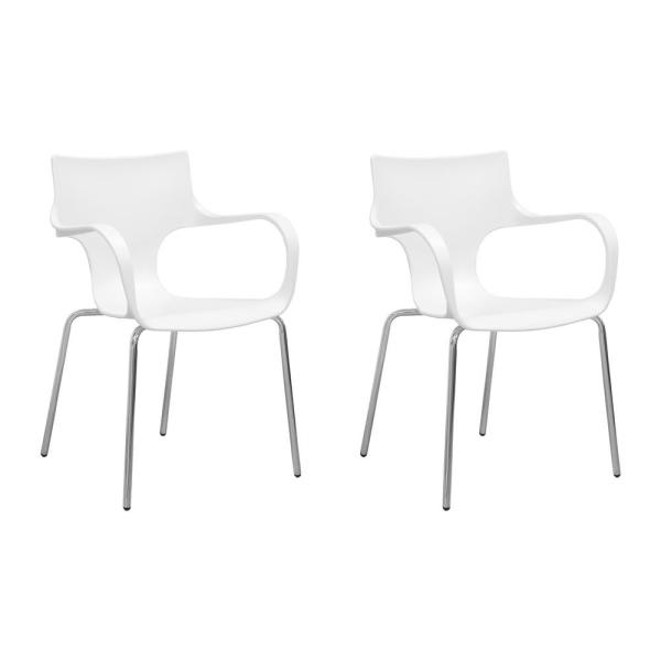 Mod Made Phin Plastic White Modern Dining Side Chair (Set of 2)  sc 1 st  Home Depot & Mod Made Phin Plastic White Modern Dining Side Chair (Set of 2) MM ...