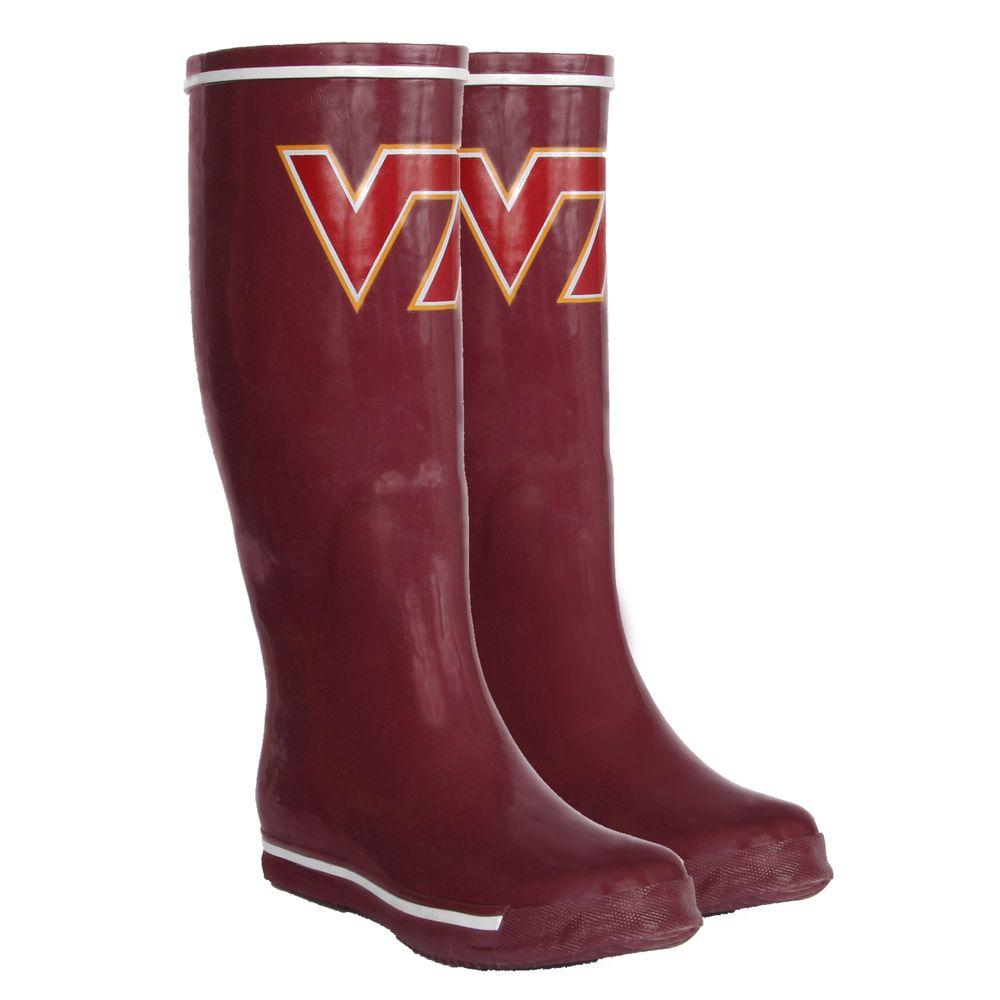 FANSHOES 12 in. Rubber NCAA Virginia Tech Hokies Team Boot Size 7