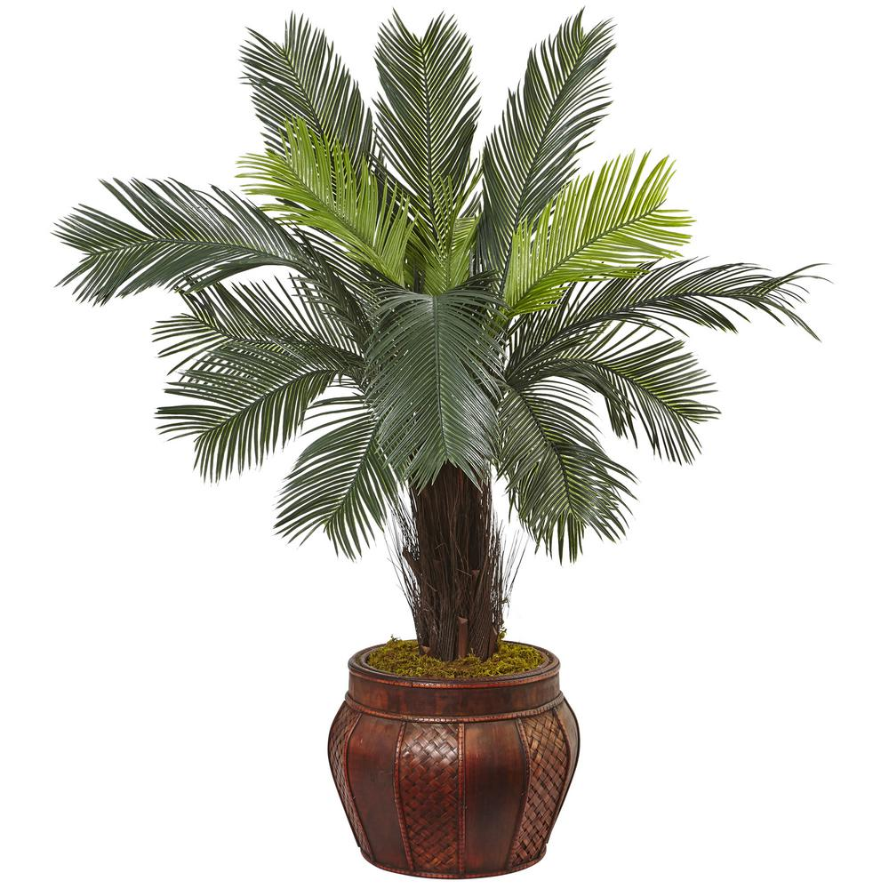 Nearly Natural Indoor Cycas Artificial Tree in Wood Plant...