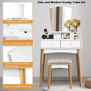2,Piece White Vanity Table Set W/Mirror \u0026 6 Drawer Dressing Table Cushioned  Stool Makeup Table