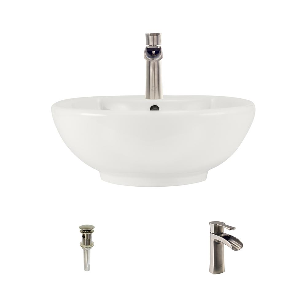 kitchen sink faucets mr direct porcelain vessel sink in bisque with 732 faucet 2702
