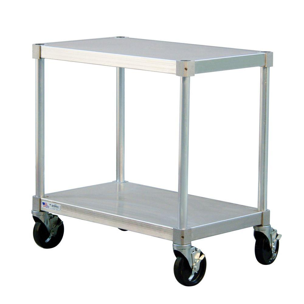 New Age Industrial 18 in. D x 42 in. L x 24 in. H 2-Shelf Mobile Aluminum Equipment Stand With 4 Stem Swivel Locking Casters
