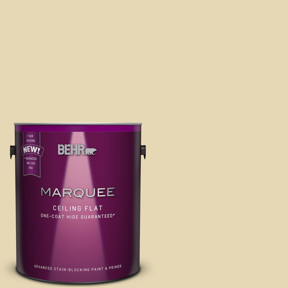 BEHR MARQUEE 1 gal. #MQ3-42 Tinted to Honey Mist One-Coat Hide Flat Interior Ceiling Paint and Primer in One