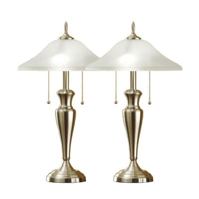 Classic Cordinates 24-inch Brushed Steel Table Lamps with High Quality Hammered Glass Shades (2-Piece)