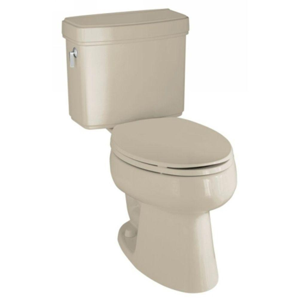 KOHLER Pinoir Comfort Height 2-Piece 1.6 GPF Elongated Toilet with Left-Hand Trip Lever in Sandbar-DISCONTINUED