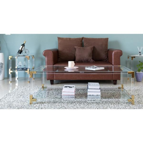Bold Tones 51 In Clear Large Rectangle Glass Coffee Table With Shelf Qi003598 The Home Depot