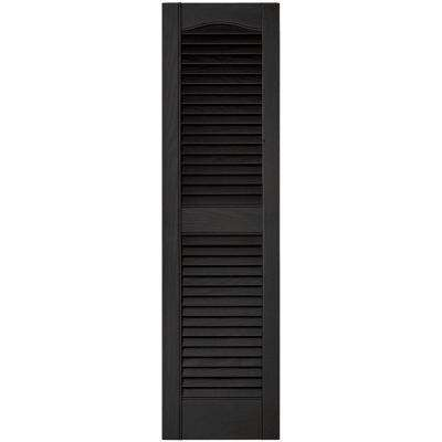 12 in. x 43 in. Louvered Vinyl Exterior Shutters Pair in #002 Black