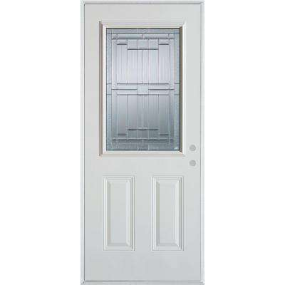 37.375 in. x 82.375 in. Architectural 1/2 Lite 2-Panel Painted White Left-Hand Inswing Steel Prehung Front Door