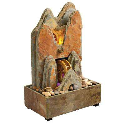 Catherine Natural Slate Indoor and Outdoor Fountain with Functioning Water Wheel