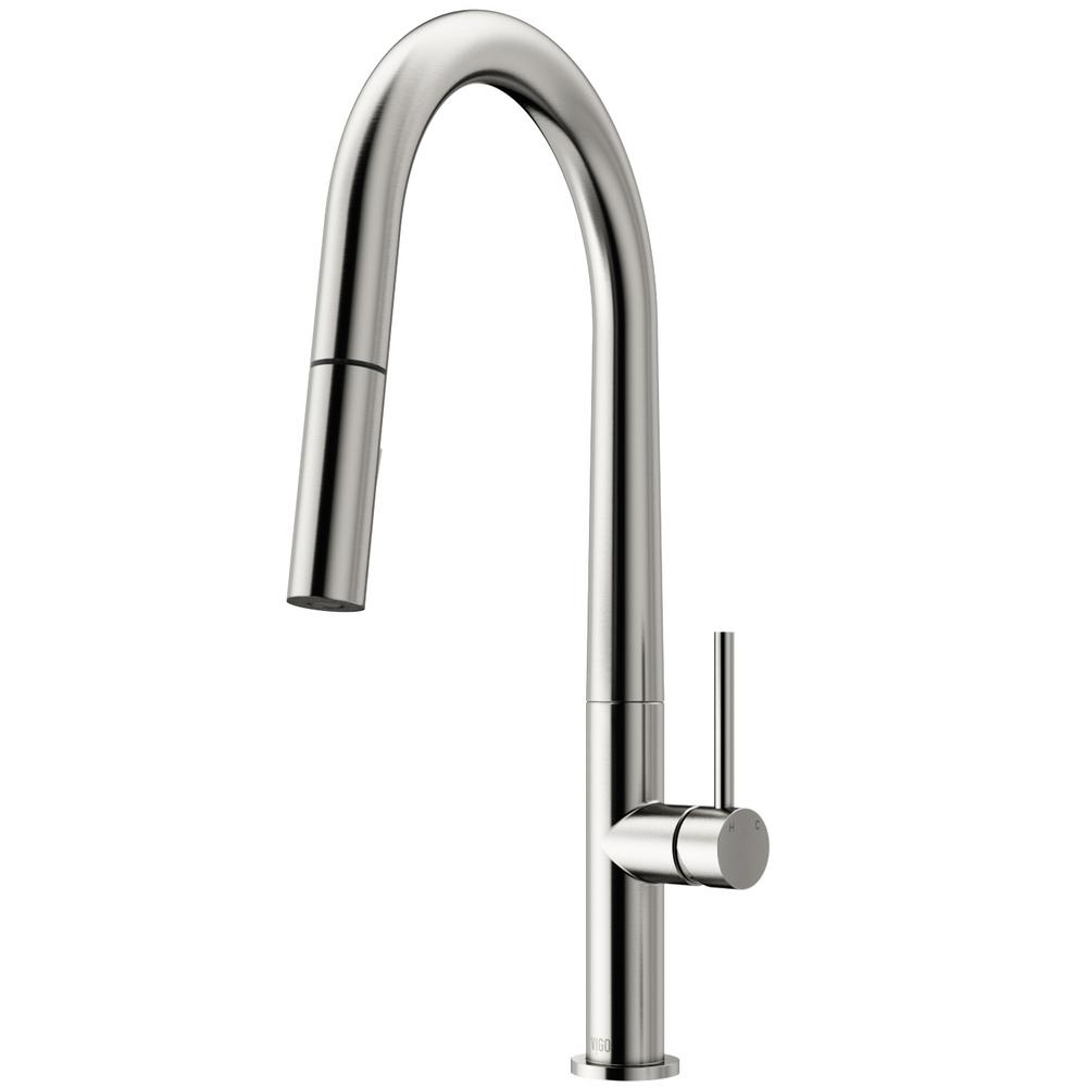 Vigo Greenwich Single Handle Pull Down Sprayer Kitchen Faucet In Stainless Steel Vg02029st The Home Depot