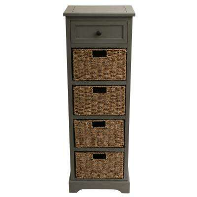 Montgomery Antique Gray Five Drawer Console