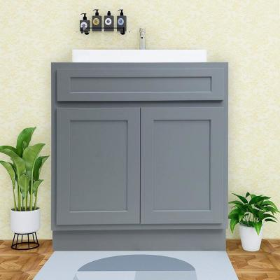 24 in. W x 21 in. D x 32.5 in. H 2-Doors Bath Vanity Cabinet Only in Gray