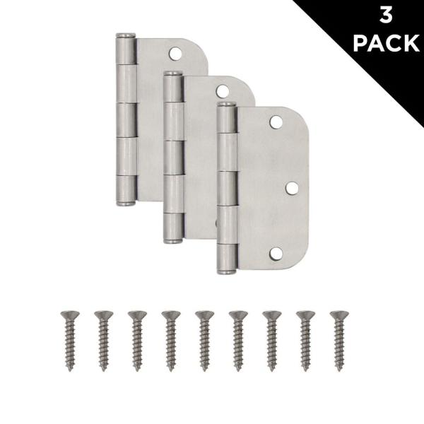 Everbilt 3-1//2 in Radius Satin Nickel Door Hinge Value Pack x 1//4 in 12-Pack