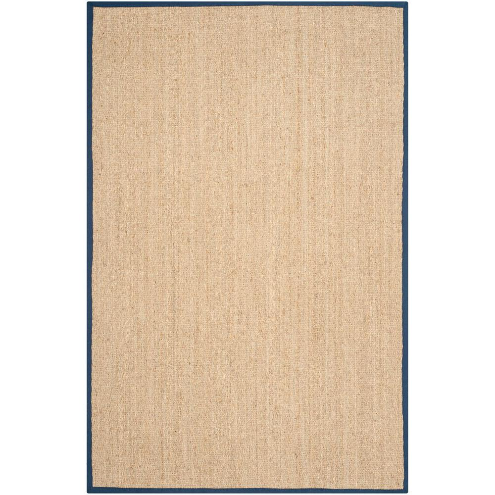 Natural Fiber Beige/Blue 6 ft. x 9 ft. Area Rug