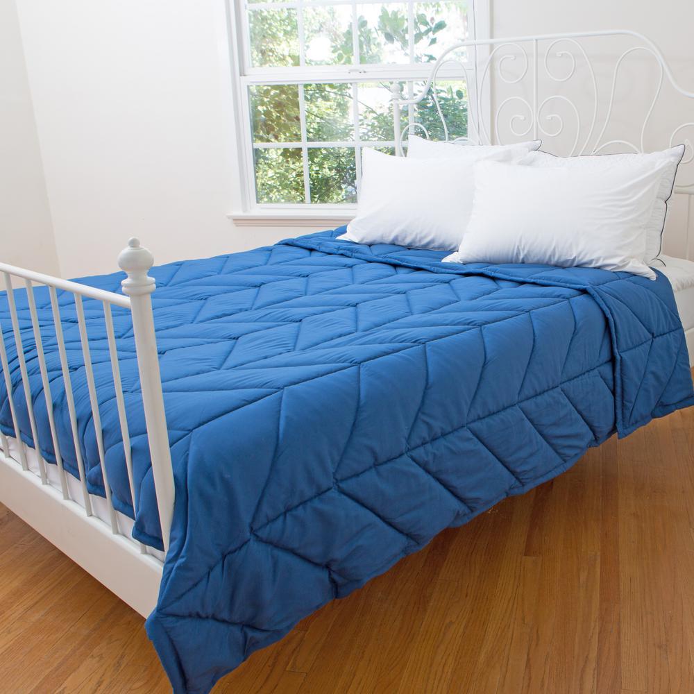 Chevron Blue Microfiber Down Alternative Queen Blanket