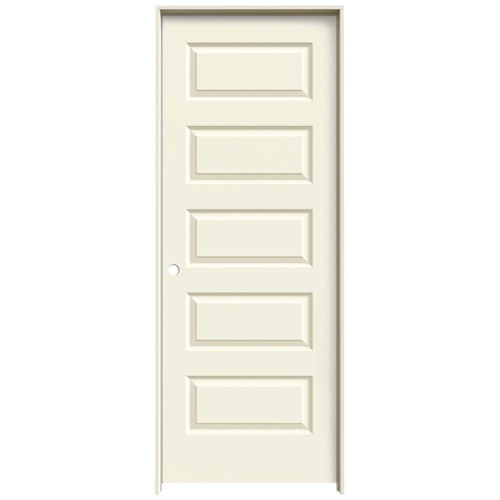 JELD-WEN 24 in. x 80 in. Rockport Vanilla Painted Right-Hand Smooth Molded Composite MDF Single Prehung Interior Door