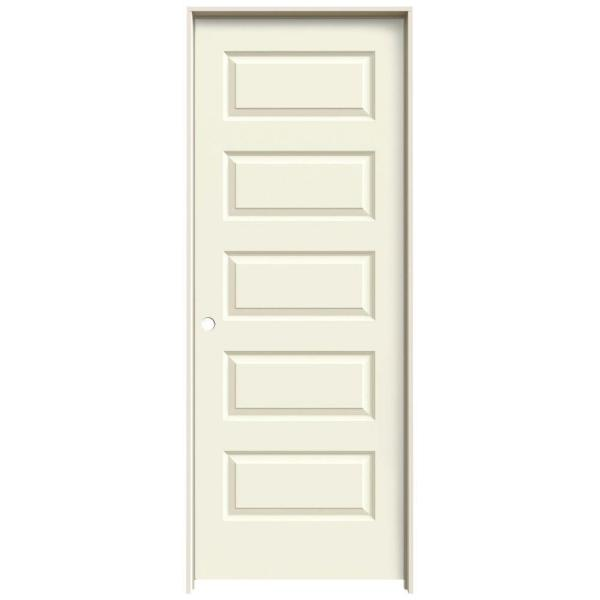 30 in. x 80 in. Rockport Vanilla Painted Right-Hand Smooth Molded Composite MDF Single Prehung Interior Door