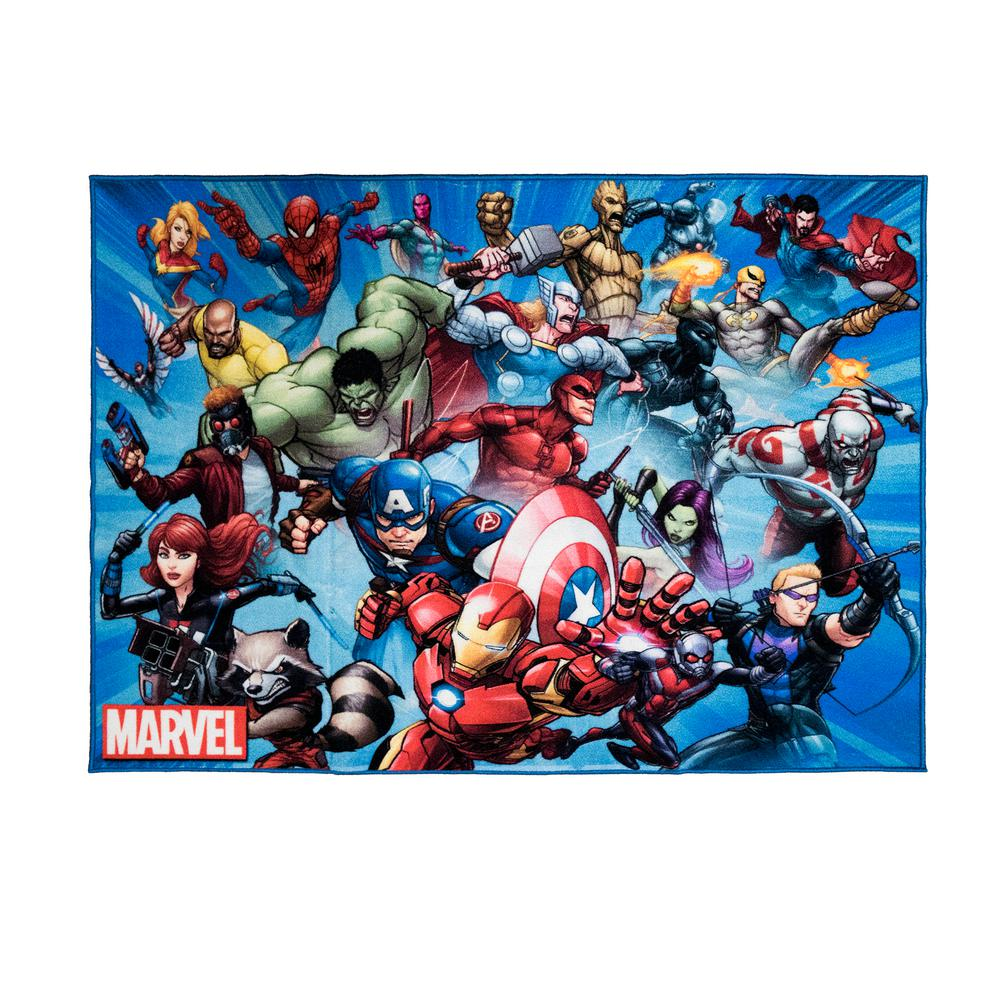 Marvel Super Heroes Multi Color 5 Ft X 7 Ft Indoor