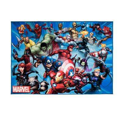 Super Heroes Multi-Color 5 ft. x 7 ft. Indoor Juvenile Area Rug