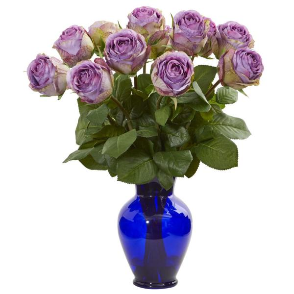 Nearly Natural Indoor Rose Artificial Arrangement in Blue Vase 1804-PP