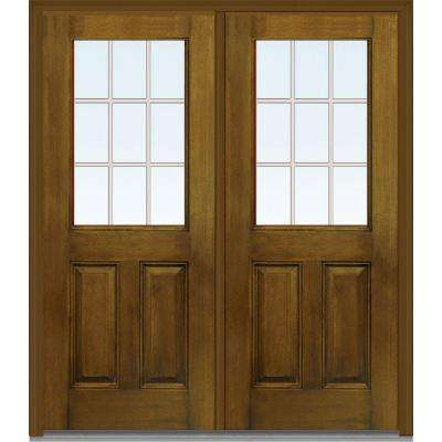 64 in. x 80 in. Tan Internal Grilles Right-Hand Inswing 1/2-Lite Clear Stained Fiberglass Mahogany Prehung Front Door