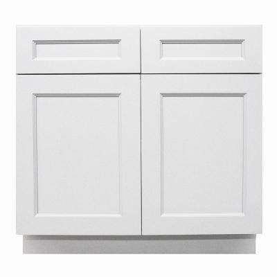 Modern Craftsmen - Ready to Assemble 33x34.5x24 in. 2-Door and 2-Drawer Base Cabinet in White