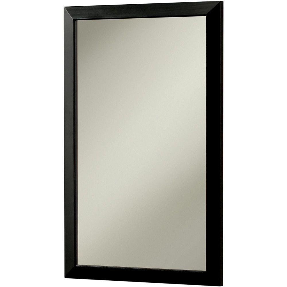 null City 16.5 in. W x 26.5 in. H x 5.25 in. D Recessed or Surface Mount Mirrored Medicine Cabinet in Black