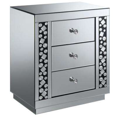 Ryder Silver Mirrored 3-Drawer Side Table